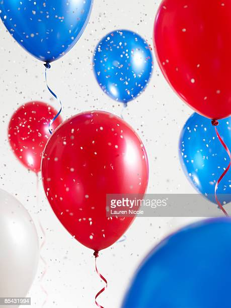 Red White and Blue Balloons with Confetti