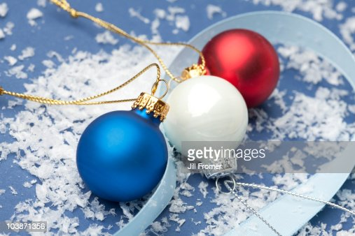 Red white and blue christmas ornaments stock photo getty