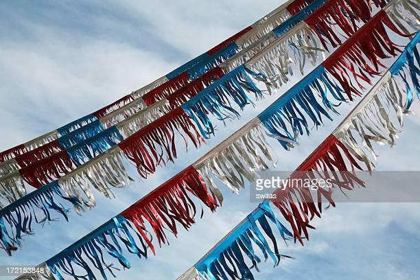 Vermelho, branco e azul decorações