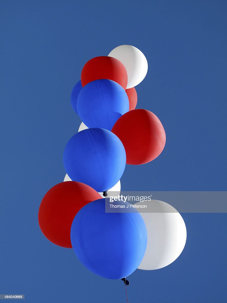 Red, white and blue helium balloons : Stock Photo