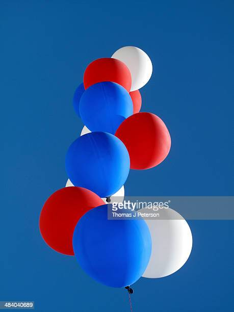 Red, white and blue helium balloons
