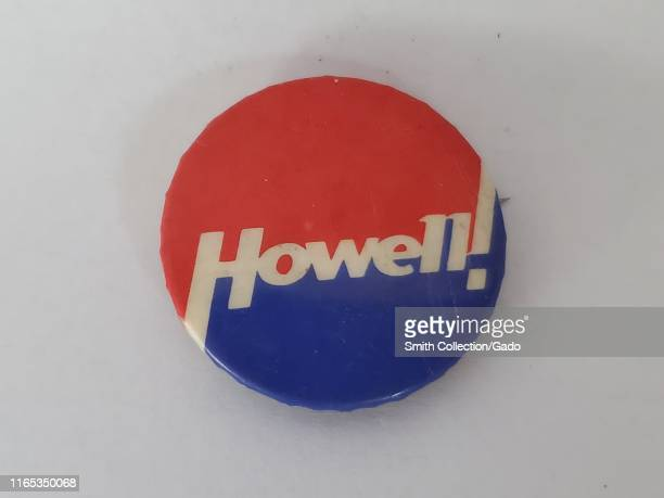 Red white and blue pinback button or badge with the text Howell likely issued for a Henry Howell gubernatorial campaign Virginia 1975