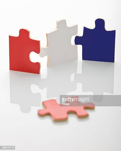 Red, white and blue puzzle pieces