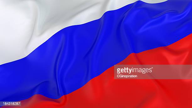 A red white and blue Russian flag