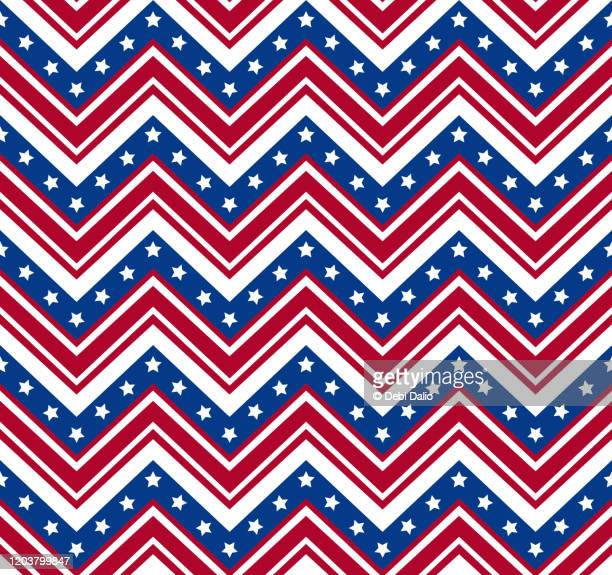 red white and blue stars and zigzag stripes pattern - white stripes stock pictures, royalty-free photos & images