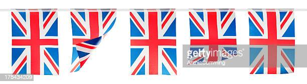 red, white and blue union jack bunting on white background - bunting stock pictures, royalty-free photos & images