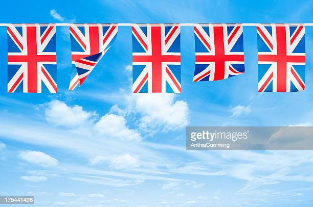 red, white and blue union jack bunting with copy space - bunting stock pictures, royalty-free photos & images