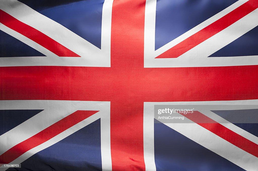 Red, white and blue Union Jack flag filling frame : Stockfoto