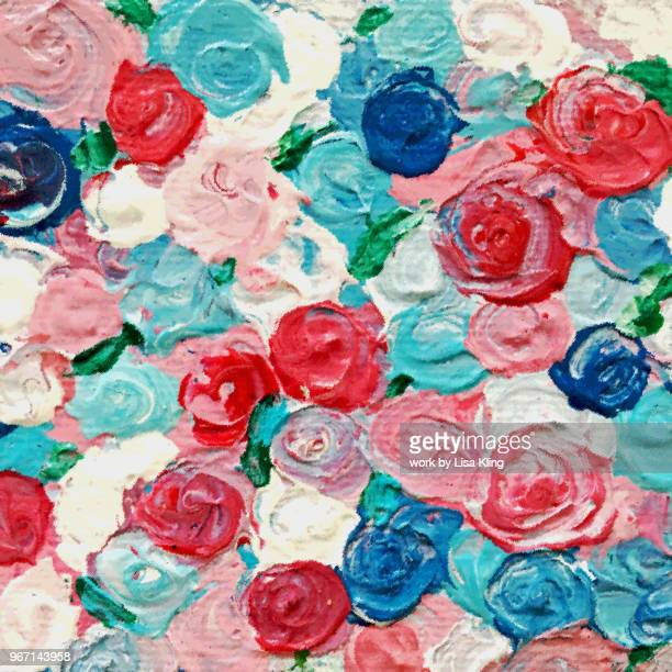 Red white & Blue Roses acrylic palette knife painting