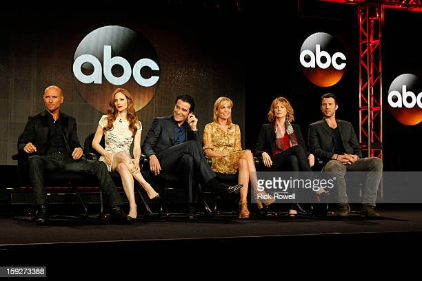 """Red Widow"""" Session - The cast and producers of Walt Disney Television via Getty Images's """"Red Widow"""" addressed the press at Disney   Walt Disney..."""