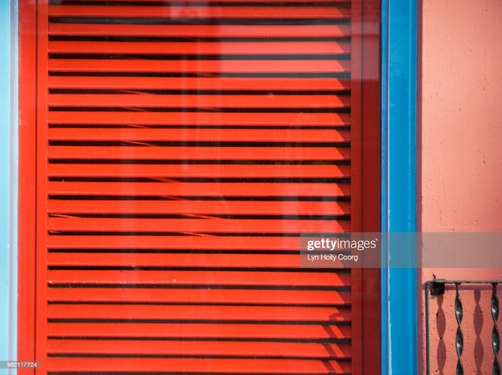 Red window shutters : Stock Photo