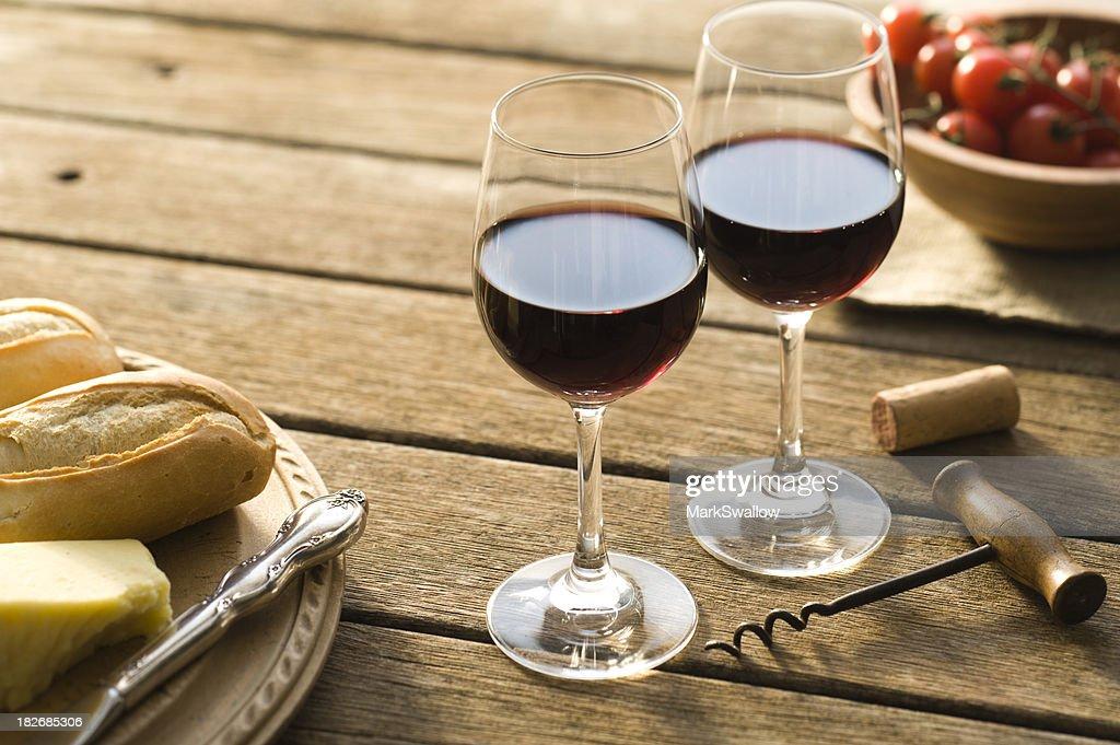 Red Wine Alfresco : Stock Photo