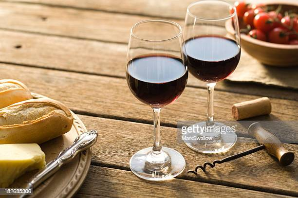 red wine alfresco - wine cork stock photos and pictures