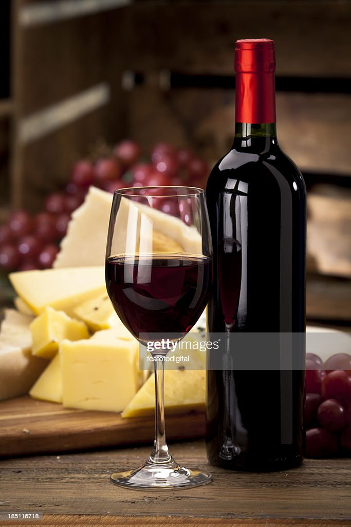 Red Wine and Cheese : Stock Photo