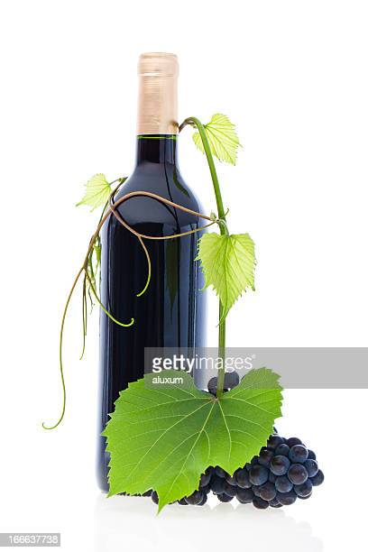 red wine and grapes - grape leaf stock pictures, royalty-free photos & images
