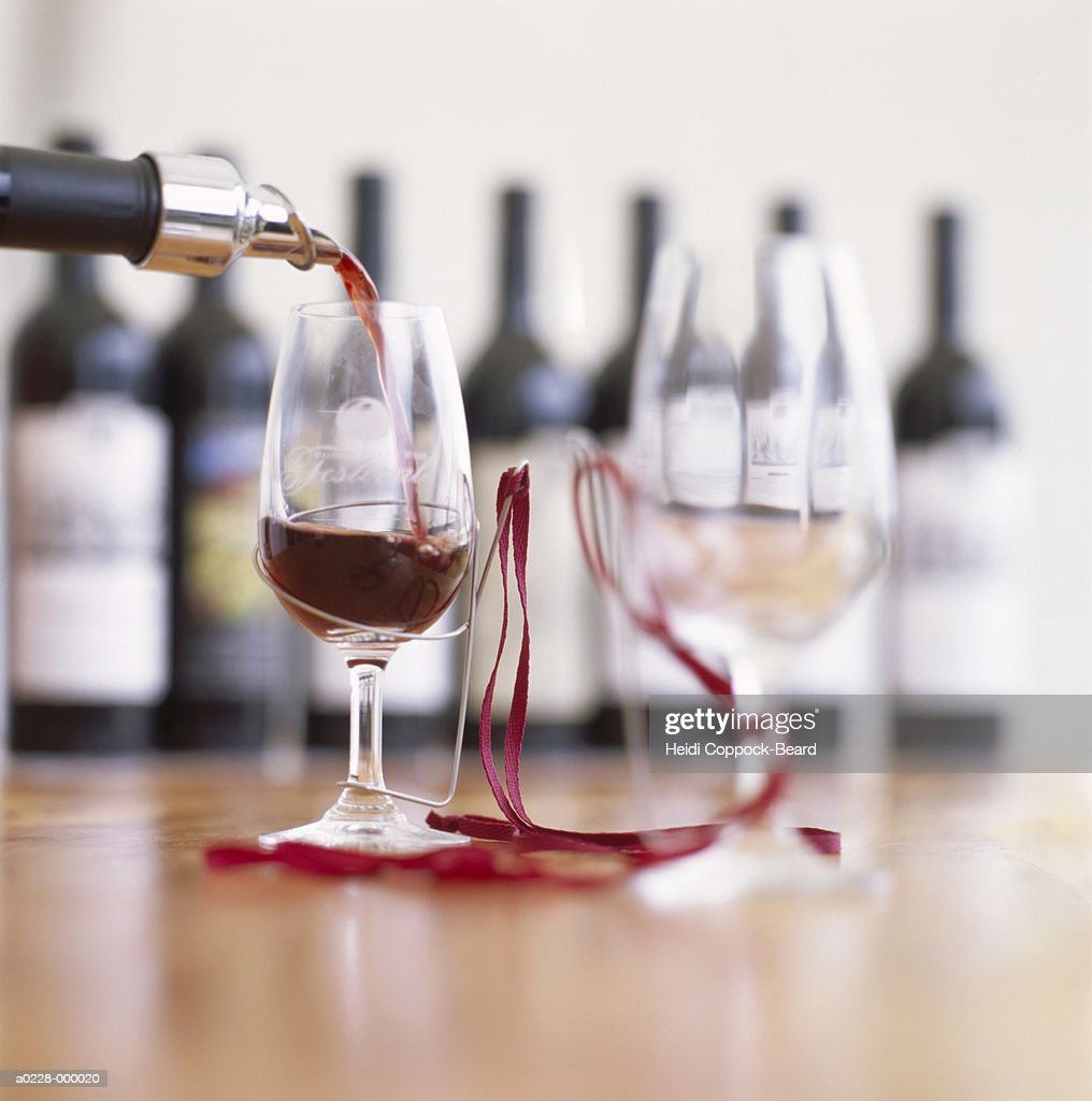 Red Wine and Wine Glasses : Stock Photo