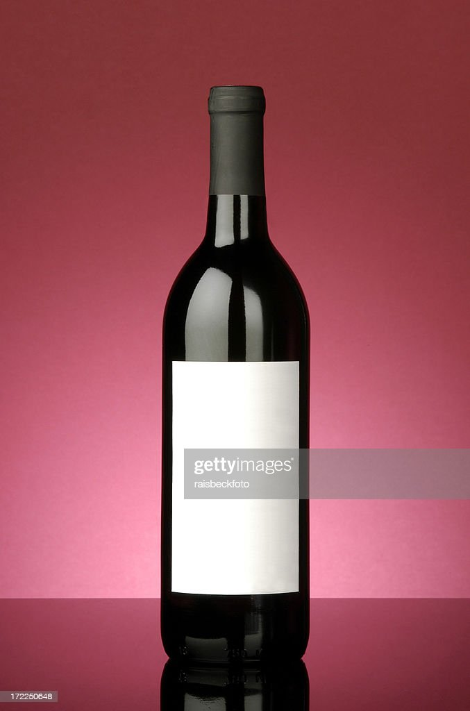 Red Wine Bottle with Blank Label : Stock Photo