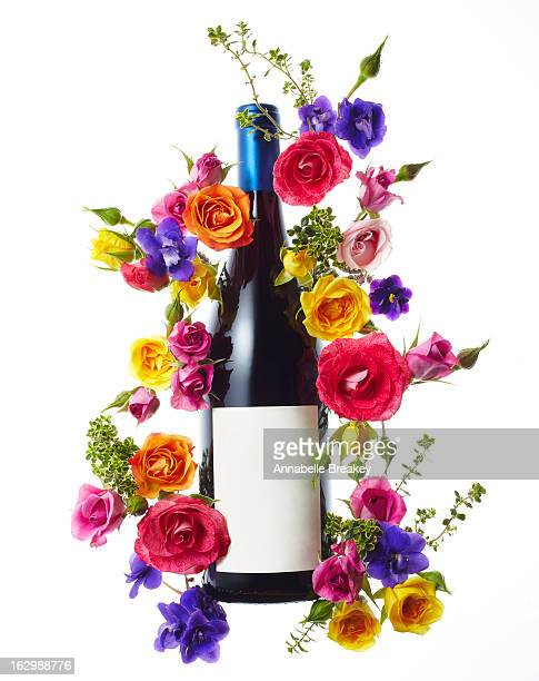 Red Wine Bottle with Flowers