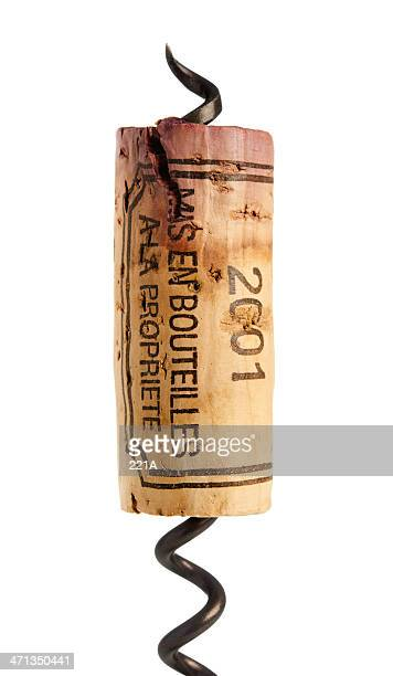 red wine cork and corkscrew on white - wine cork stock photos and pictures