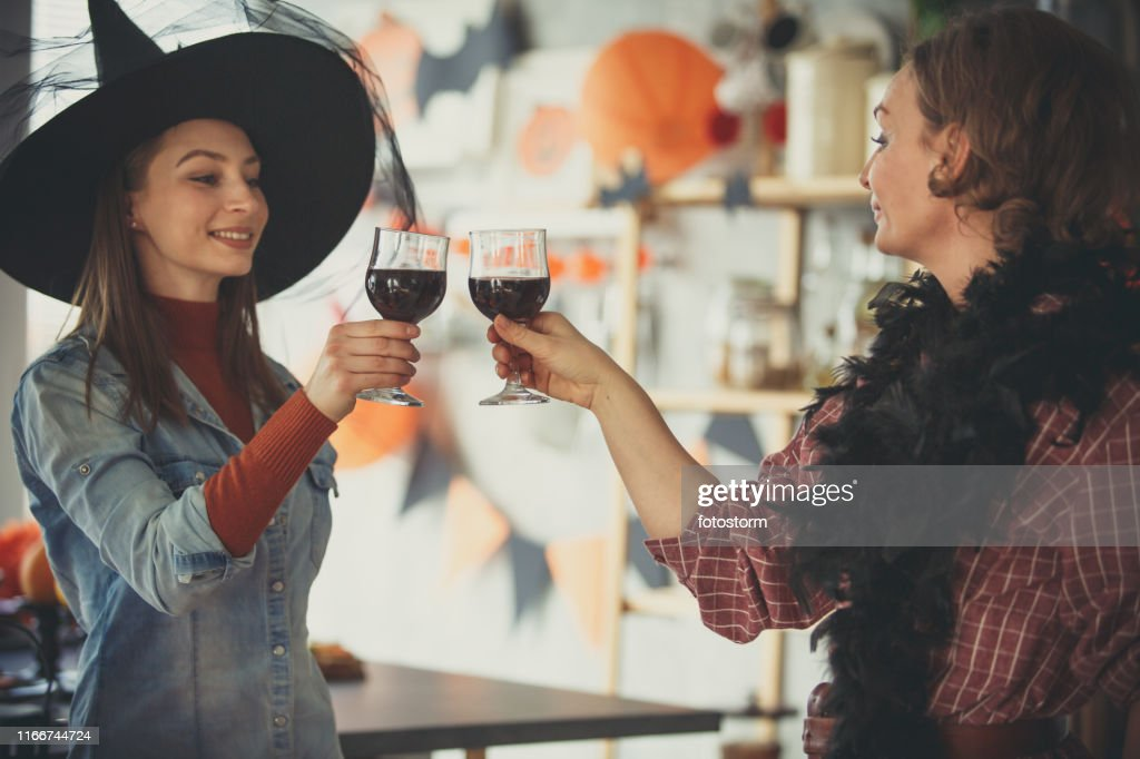 Red wine for Halloween celebration : Stock Photo