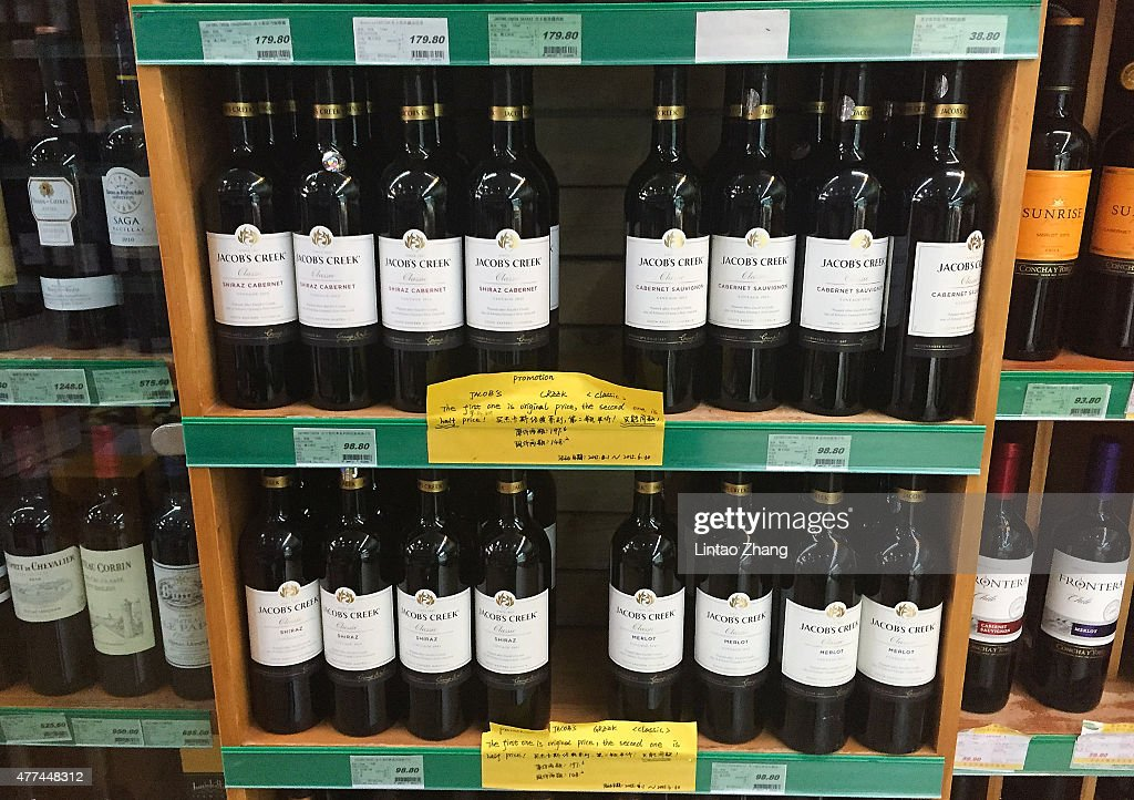 Red wine imported from Australia are displayed for sale at supermarkets on June 17, 2015 in Beijing, China. China's Minister of Commerce Gao Hucheng today is in Australia to formalise the free trade agreement between Australia and China, In the field of goods, both sides have accounted for 85.4 percent of export trade products will achieve zero tariffs immediately upon entry into force of the Agreement.