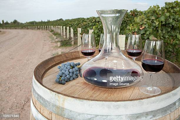 Red wine in vineyard