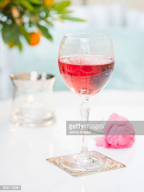 Red wine in wineglass