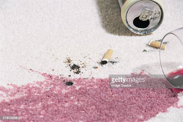 red wine stain on a carpet - red carpet event stockfoto's en -beelden