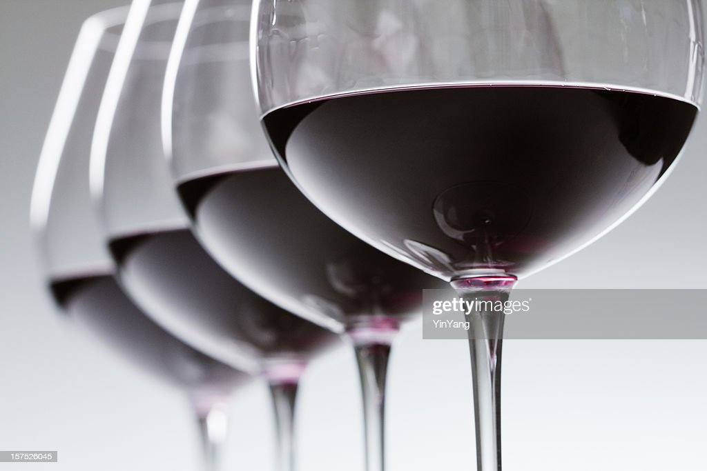 Red Wine Winetasting Glasses in a Row, Alcohol Tasting Close-up : Stock Photo