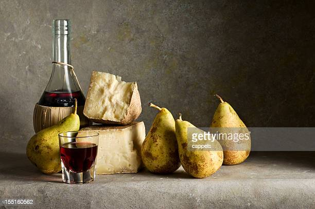 Red Wine,Cheese And Pears.Color Image