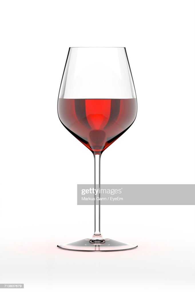 Red Wineglass On White Background : Stock Photo