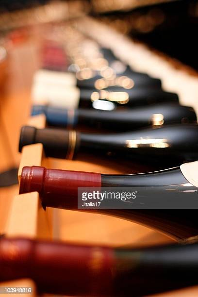Red Wines on Wine Rack - Shallow Focus