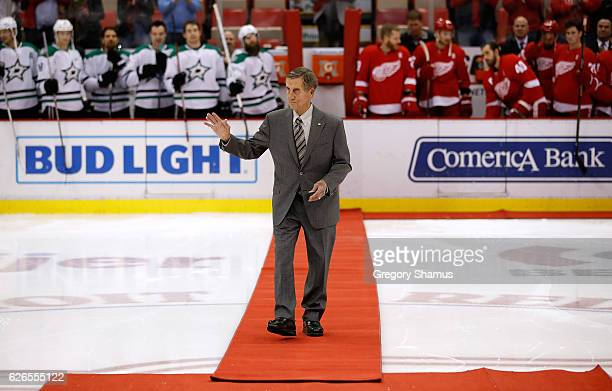 Red Wing Hall of Famer Ted Lindsay comes out for a ceremonial puck drop prior to the Dallas Stars and Detroit Red Wings playing at Joe Louis Arena on...