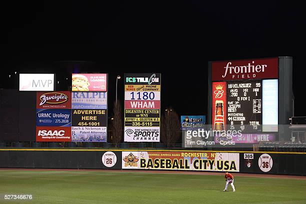 Red Wings outfielder Oswaldo Colabello in the outfield surrounded by advertising during the Rochester Red Wings V The Scranton/WilkesBarre RailRiders...