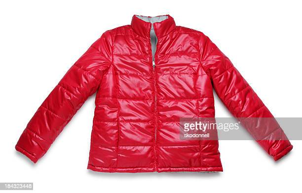 red winter jacket on white - winter coat stock pictures, royalty-free photos & images