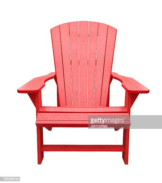 Red wooden deck chair isolated on white background