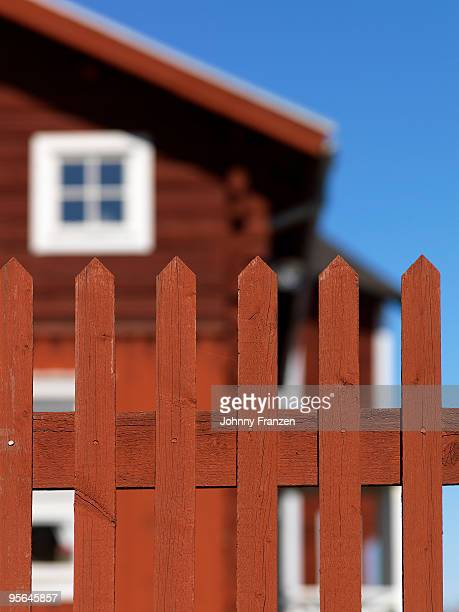 A red wooden fence, Sweden.