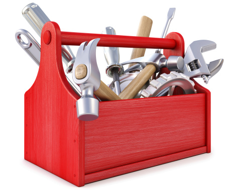 Red wooden toolbox with tools on white background 177436977