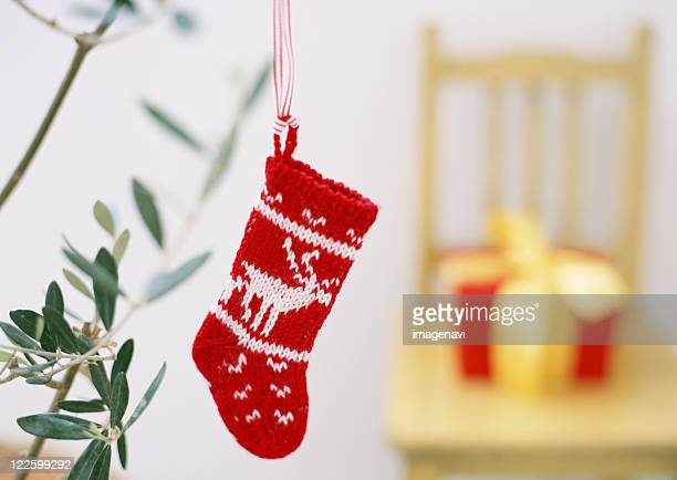 A red wool Christmas stocking