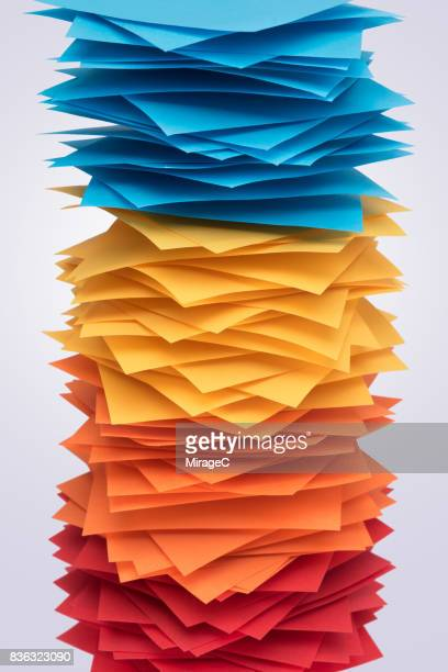 Red Yellow and Blue Paper Stacking