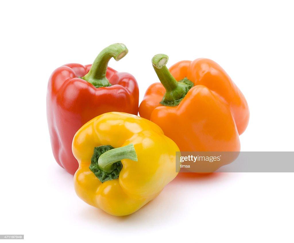 Rojo, amarillo, naranja y pimientos : Foto de stock