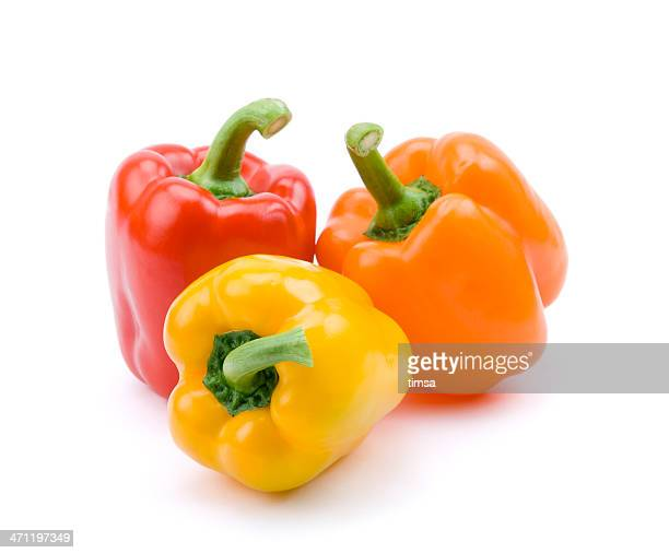 Red, yellow, and orange bell peppers