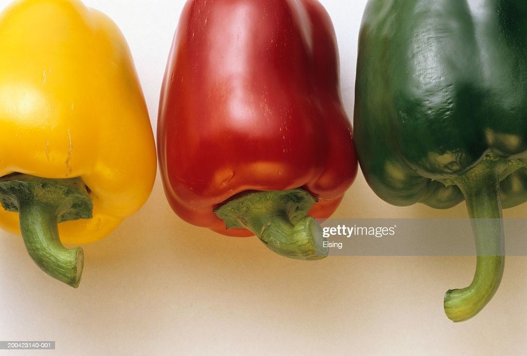 Red; Yellow & Green Bell Pepper : Stock Photo