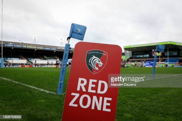 Red Zone signage close to the pitch during the Gallagher Premiership Rugby match between Leicester Tigers and Newcastle Falcons at Welford Road on...