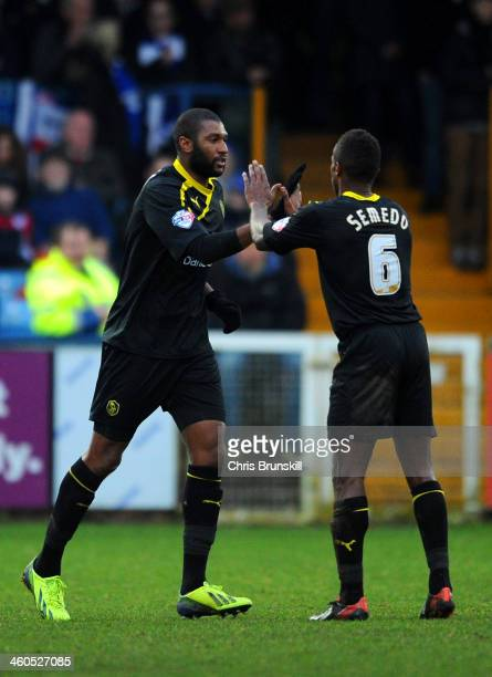 Reda Johnson of Sheffield Wednesday celebrates scoring opening goal with Jose Semedo of Sheffield Wednesday during the Budweiser FA Cup Third Round...