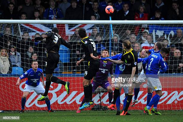 Reda Johnson of Sheffield Wednesday heads in the opening goal during the Budweiser FA Cup Third Round match between Macclesfield Town and Sheffield...