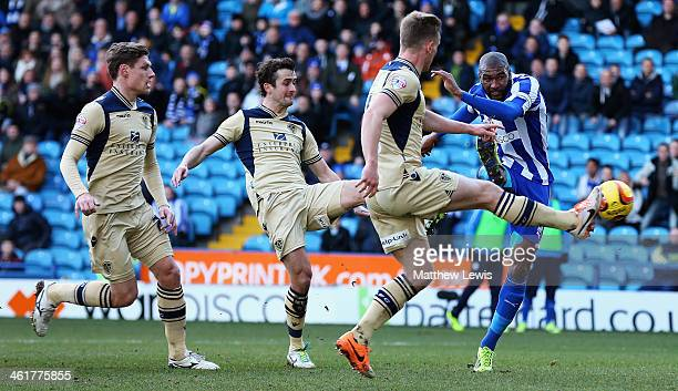 Reda Johnson of Sheffield Wednesday scores a goal during the Sky Bet Championship match between Sheffield Wednesday and Leeds United at Hillsborough...