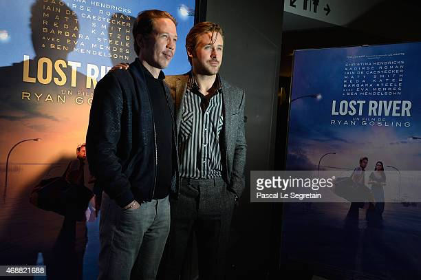 Reda Kateb and Ryan Gosling attend the Paris Premiere of the 'Lost River' film on April 7 2015 in Paris France
