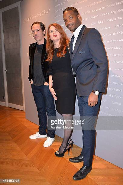 Reda Kateb MarieCastille MentionSchaar and Ahmed Drame attend the 'Cesar Revelations 2015' Cocktail Party at Salons Chaumet on January 12 2015 in...