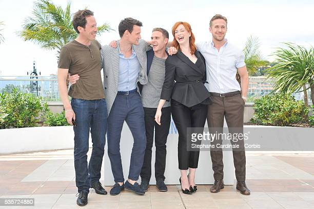 Reda Kateb Matt Smith Ian De Caestecker Christina Hendricks and Ryan Gosling at the 'Lost River' photocall during the 67th Cannes Film Festival